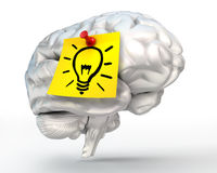 Idea lamp note paper on brain conceptual image Royalty Free Stock Photography
