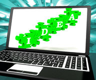 Idea On Laptop Shows Websites' Inventions. And Creativity Royalty Free Stock Images