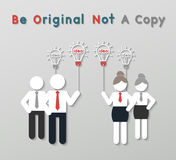 Idea leadership business concept. Paper best original idea businessman and businesswoman standing ahead others copycat. idea leadership business concept in Royalty Free Stock Image