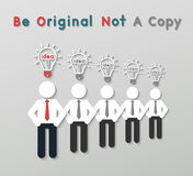 Idea leadership business concept. Paper best original idea businessman standing ahead others copycat. idea leadership business concept in modern flat style Royalty Free Stock Photo