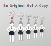 Idea leadership business concept. Paper best original idea business woman standing ahead others copycat. idea leadership business concept in modern flat style Royalty Free Stock Image