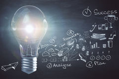 Idea and leadership concept. Creative glowing lamp on dark wall background with business sketch. Idea and leadership concept. 3D Rendering Stock Images