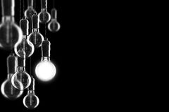 Idea and leadership concept Vintage  bulbs on black background, Royalty Free Stock Photography