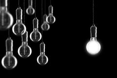 Idea and leadership concept Vintage incandescent Edison bulbs on Royalty Free Stock Images