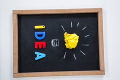Idea letter block and crumbled paper on slate Royalty Free Stock Image