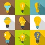Idea ligh bulb icons set, flat style. Idea ligh bulb icons set. Flat set of 9 idea ligh bulb vector icons for web with long shadow Stock Images