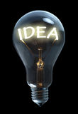 Idea light bulb. Light bulb with idea text Stock Image