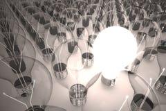 Idea light bulb. Floating light bulbs, one light bulb is turn on shows the brilliant idea among the other vector illustration