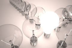 Idea light bulb. Floating light bulbs, one light bulb is turn on shows the brilliant idea among the other royalty free illustration