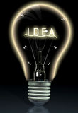 Idea on a light bulb Stock Photos