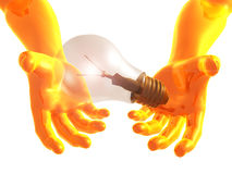 Idea light bulb 3d arms Royalty Free Stock Photo