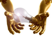 Idea light bulb 3d arms Stock Photography