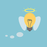 Idea light bulb. With angel wings. Vector Stock Photo