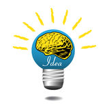Idea light bulb. Blue light bulb with yellow brain shape and the word idea written with white letters Royalty Free Stock Photos