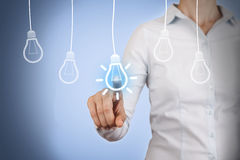Idea Light Bulb Concept Touching on Visual Screen Stock Photography