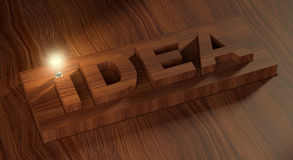 The idea and the light bulb. 3D image of the word idea in the form of a wooden texture and a number of glowing light bulb Stock Illustration