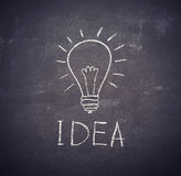 Idea light bulb drawn with chalk on  blackboard. Idea light bulb drawn with chalk on a blackboard Royalty Free Stock Photo