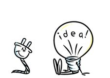 Idea light bulb electric plug Stock Photos