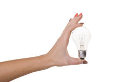 Idea light bulb in hand on white background Royalty Free Stock Photo