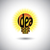 Idea light bulb with hand written words - concept vector graphic. This illustration also represents problem solving, smart ideas, creative solution, clever Royalty Free Stock Photo