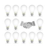 Idea light bulb handshake concept background Royalty Free Stock Images