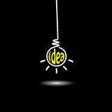 Idea light bulb hanging - concept vector. Idea light bulb hanging in black background - concept vector icon. This graphic also represents creative problem Royalty Free Stock Photos