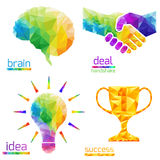 Idea light bulb, human brain, handshake, deal, success, cup royalty free illustration