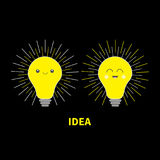 Idea light bulb icon set with happy smiling face. Shining line round effect. Cute cartoon character. Yellow color switch on. Busin Stock Images