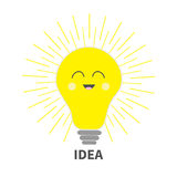 Idea light bulb icon with smiling happy face. Shining line round effect. Cute cartoon character. Yellow color switch on. Business Royalty Free Stock Image