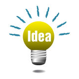 Idea light bulb. Isolated yellow light bulb with the word idea written with white letters Royalty Free Stock Photo