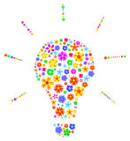 Idea Light Bulb Made Of Flowers Abstract. Vector Illustration Vector Illustration