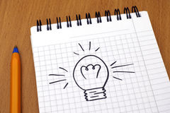 Idea. Light bulb painted on note pad Stock Images