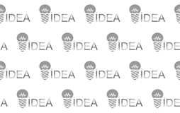 Idea light bulb. Seamless branded background. To repeat Logo, paper for the wrapper or backdrop, promotional sign, conceptual symbol. Vector vector illustration