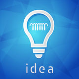 Idea and light bulb sign over blue background, flat design Stock Image