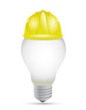 Idea light bulb under construction sign Royalty Free Stock Image