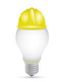 Idea light bulb under construction sign royalty free illustration