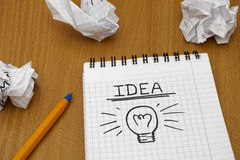 Idea and light bulb Stock Photos