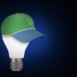 Idea   light  bulbs  with cap template Royalty Free Stock Photos