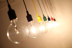 Idea with light bulbs Royalty Free Stock Photo