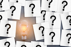 Idea light bulbs with paper and question mark background Stock Image