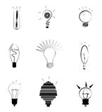 Idea Light Bulbs. Set of light bulb illustrations, new idea concept Royalty Free Stock Images