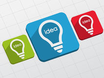 Idea in light bulbs signs in flat blocks Stock Images