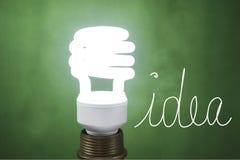 Idea On light Flourescent light bulb on green background Stock Photography