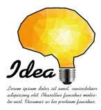Idea lightbulb and brain triangle Stock Images