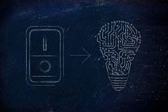 Idea lightbulb made of electronic circuits with switch on Royalty Free Stock Photos