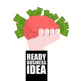Idea lista del negocio Adolescente que usa el teléfono celular al aire libre cerebro en su mano y dinero el concepto es rentable  Fotografía de archivo libre de regalías