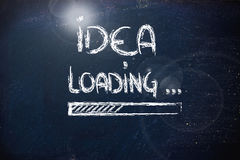 Idea loading, progress bar on blackboard Royalty Free Stock Photos