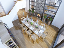 Idea of loft style dining room Royalty Free Stock Images