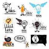 Idea logo. Glow crazy logo symbol. Light bulb with wings logo. Royalty Free Stock Photos