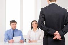 Idea of lying on job interview Stock Photos